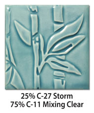 Tile glazed with a mix of 25-percent C-27 Storm plus 75-percent C-11 Mixing Clear