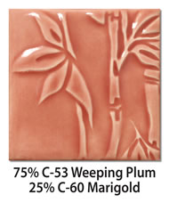 Tile glazed with a mix of 75-percent C-53 Weeping Plum plus 25-percent C-60 Marigold