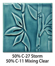 Tile glazed with a mix of 50-percent C-27 Storm plus 50-percent C-11 Mixing Clear