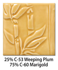 Tile glazed with a mix of 25-percent C-53 Weeping Plum plus 75-percent C-60 Marigold