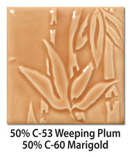 Tile glazed with a mix of 50-percent C-53 Weeping Plum plus 50-percent C-60 Marigold