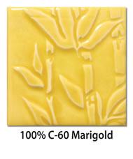 Tile glazed with 100-percent C-60 Marigold